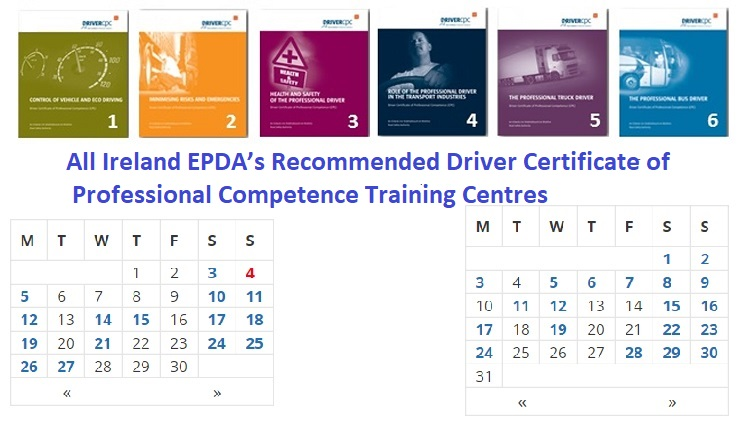 All Ireland EPDA's Recommended Driver Certificate of Professional Competence Training Centres https://prodrivers.mhsoftware.com/