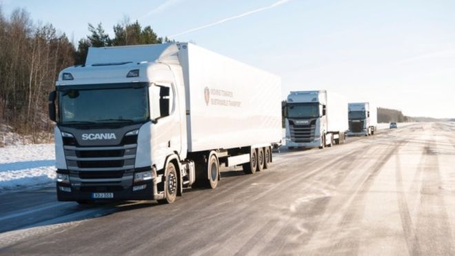 "Scania believes 5G could improve communications between ""platooning"" lorries"