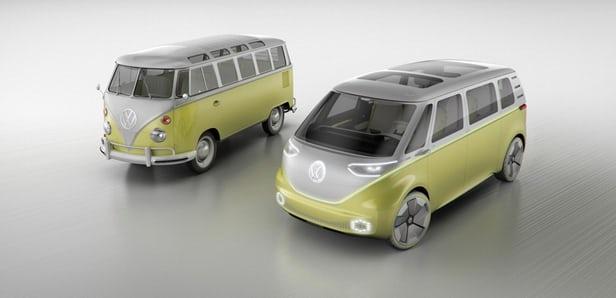 Volkswagen I.D. Buzz: recalls the old Type 2 Kombi's signature front V-lines(Credit: Volkswagen)